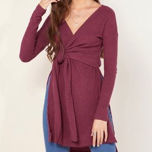 Free People Fall for You Wrap Style Burgundy Top
